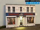 N Scale Scratch Built FREEDOM FIREARMS  GUN SHOP Building Flat wLED