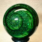 WILLIS MARBLES 1 3 8 BIG GREEN MICA DUST BUBBLES MARBLES HAND MADE GLASS MARBLE