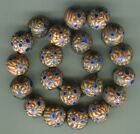 African Trade beads Vintage Venetian old glass 21 nice round millefiori beads