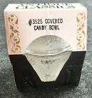 NOS Jeannette Grape Pattern Footed Jar Lid Clear Glass Original Box Unopened PO