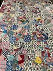 NICE Antique Handmade Hand Quilted Feed Sack Crazy QUILT 58 x 77 957