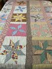 VINTAGE Handmade Hand Quilted Feed Sack Eastern Star QUILT 71 x 85 Full 971