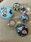 Six Vintage Murano Venetian Art Glass Millefiori Glass Paperweights Diff Sizes