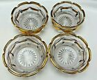 4 Gold Trimmed Berry Bowls Smoky Lilac Color Tone Pressed Glass Vintage 4.5