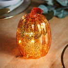 Orange Glass Pumpkin Battery Operated LED Fall Thanksgiving Light Up Decoration