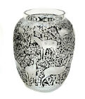 Lalique France Biches Proof Vase Black  Frosted Clear Figural Deer