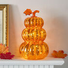 Orange Glass Pumpkin Stack Battery Operated LED Fall Thanksgiving Decoration