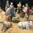 Vintage 9 PIECE LARGE HAND PAINTED CERAMIC NATIVITY SET 8 9