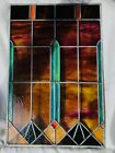 Vintage Stained Glass Panel Great Design Great Condition 30 1 2 x 20 1 4