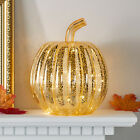 Gold Mercury Glass Pumpkin Battery Operated LED Fall Thanksgiving Decoration