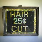 Antique Painted Glass 25cHaircut Sign