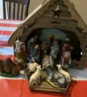 Vintage Cardboard Nativity Creche Hand Painted Figure Japan 1960s