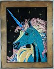 Reverse Painted Glass Magical Unicorn Vintage MCM Art Painting Black Pink Gold