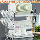 2 3 Tier Dish Drying Rack Large Kitchen Drainer Stainless Steel Shelf Holder US