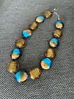 Chunky Italian Murano Venetian art glass Gold Blue necklace 18 In 1950 To 1970s