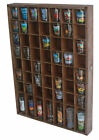 Rustic Wood Shot Glasses Display Case 56 Compartments Wall Curio Shelf no door