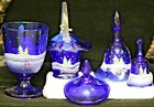 FENTON GLASS COBALT BLUE LOT 4 CHRISTMAS SCENES HAND PAINTED SIGNED