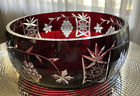 Vintage Bohemian Crystal Dark Ruby Red Cut to Clear Glass Centerpiece Bowl