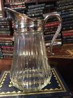 ARKANSAS ESTATE FRESH GLASS PITCHER JUG with METAL RIM and POURING SPOUT