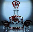Art Deco Bohemian Ruby Red enamel Crystal Glass Decanter Carafe Set