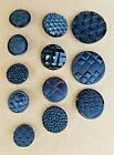 12 VINTAGE ASSORTED BLACK GLASS BUTTONS EMBOSSED WOVEN PATTERN 5 8 1 1 4