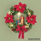 Light Up Lighted Christmas Wreath Red Bow Poinsettia Holly Nativity Scene Jesus