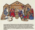 OOP Nativity Scene Fabric Panel 3D Dolls Stable Crche Cranston VIP Christmas