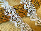 Stunning 15 35cm White Heart Design Guipure Lace TrimCrafts Bridal Sewing