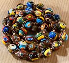 Vintage Murano Millefiori Beads Necklace Multi Colored Hand Knotted 17 1 4