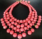 LOUIS ROUSSELET Amazing Rose Pink Glass Bead French Vintage Necklace
