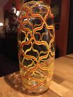 Blown Glass Arabesque Vase Clear Red Yellow Large