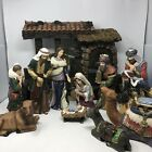 Hand Painted Large Nativity Set Kirkland Signature Manger 13 Pieces Vtg Costco