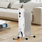 1500W Home Electric White Oil Filled Radiator Space Heater 7 Fan Wheels Thermost