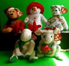 BEANIE BABIES  CHRISTMAS LOT OF 5 MOOSLETOE HOLIDAY TEDDY CHILLIN TINY TIM CANDe