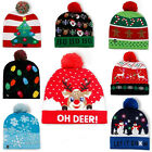 Christmas LED Light Up Colorful Knitted Hat Beanie Xmas Warm Cap Kids Adult Gift