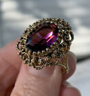 Vintage Purple Amethyst Glass Ornate Filigree 14k Gold Plate Ring Bohemian 8