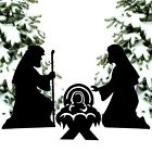 Nativity Scene Holy Family Shadow Silhouette Set Metal Outdoor Christmas Stakes