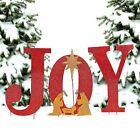 2 Ft JOY Christmas Red Metal Nativity Sign Stake Festive Yard Garden Ornament