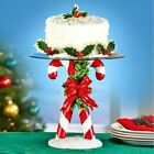 10Dia Candy Cane Pedestal Serving Plate Stand Cake Tray Christmas Holiday Decor