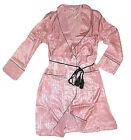 VICTORIAS SECRET TASSEL TIE SATIN BATH ROBE PINK STRIPED KNEE LENGTH LARGE NEW
