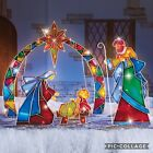 4 PC Light Up Lighted Nativity Scene Baby Jesus Star Of Bethlehem Yard Stake Set