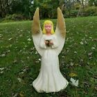 Blow Mold Union Angel W Gold Wings Christmas Lighted Table Top Nativity 18 Vtg