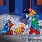 3 PC Light Up Lighted Nativity Scene Baby Jesus Mary Joseph Yard Stake Decor Set