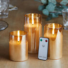 3 TruGlow Amber Glass Flameless LED Battery Operated Pillar Candles with Remote