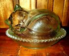 Vintage Indiana Glass Cat Kitten On Nest Candy Covered Dish