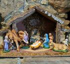 Vintage Nativity 1950s Set of 9 Chalkware Figures Made in Italy and Stable