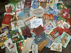 235 Christmas Card Lot VTG Current Mid Century Santa Tree Angel Nativity Craft
