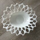 Westmoreland Bowl Milk Glass Reticulated Lace Serrated Edge White Oval Vintage