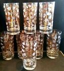8 MC DeSiGnEr Fred Press Gold Dogwood Flower Tumbler HiGhBaLl Glasses Culver