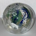 WOW Vintage Weston Art Glass World Earth Globe Paperweight Signed 1997 3